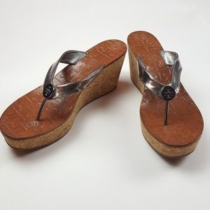 Authentic Tory Burch Thora Silver Wedge Sandals